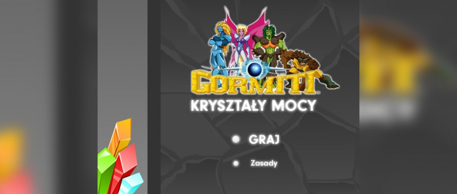Gormiti Kryształy Mocy is a game for TeleToon+ website where user must match groups od the same types of crystals. Players can see some greate special effects (ice, flame, broken crystals, fan).