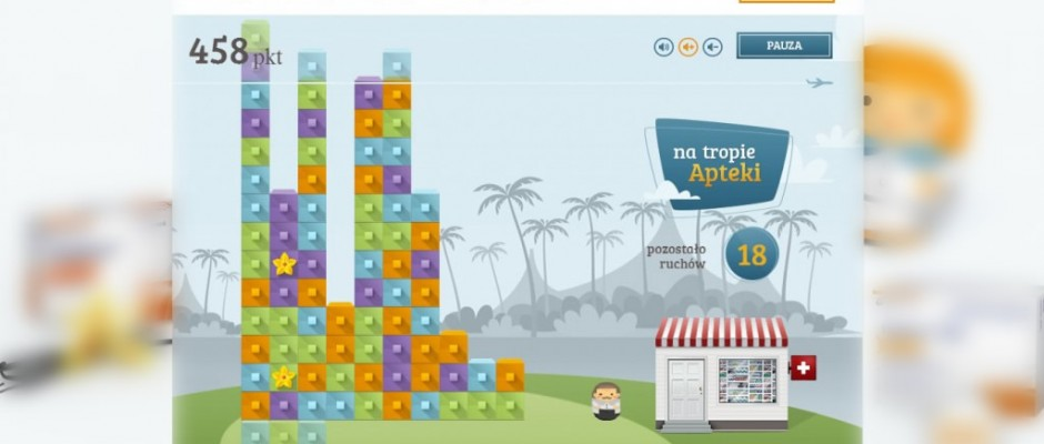 Na Tropie Apteki is a html5 game where player must click a group of at least three squares with the same color. Theapothecary need to find his way to home – player's job is to reduce all squares in a column whereapothecary stay. Users may save their best scores (after[...]
